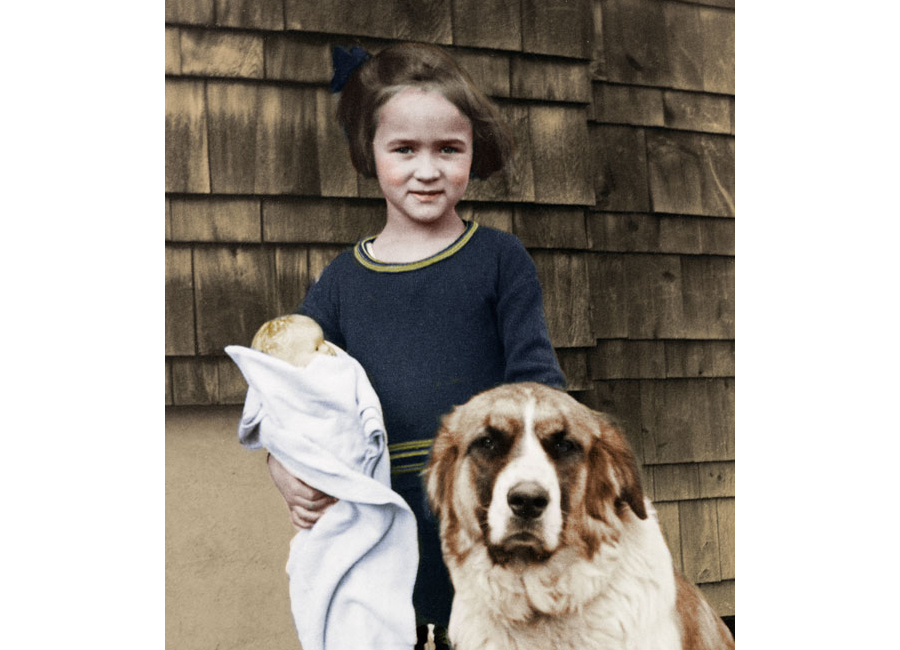 Colorized child and dog